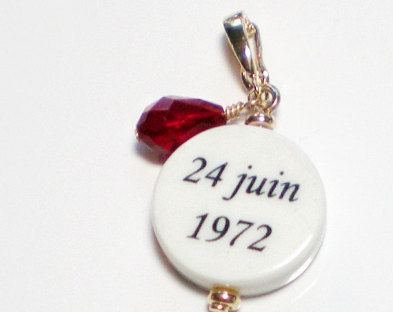 Anniversary Crystal or Birthstone Photo Charm - Round XSM - 14K Gold Edition - C6RaG