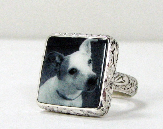 Custom ring with a clay photo tile set in sterling silver