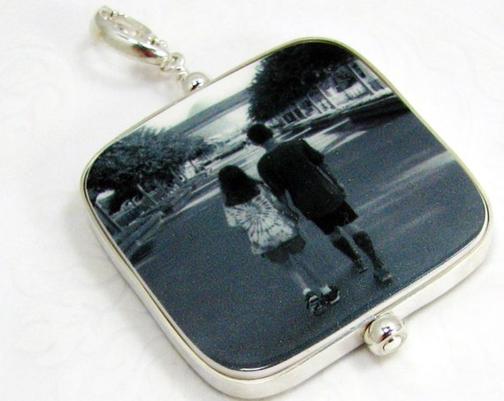"Shiny Flat Framed Photo Pendant on a Hinged Bail - Large (1.25"")"