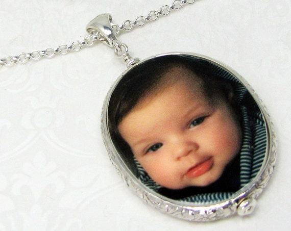 Sterling Silver Framed Oval Photo Pendant - Large - FP18FN