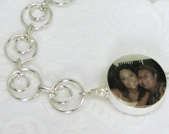 Charm Bracelet with a  Round XSM Photo Charm - C6B5