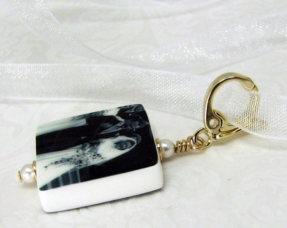 Wedding Charm - Gold Vermeil Edition - Bridal Bouquet Memorial Photo Charm - Small - BC3GV