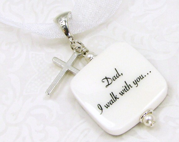 Wedding Bouquet Photo Charm with a Sterling Silver Cross - BC3Ra