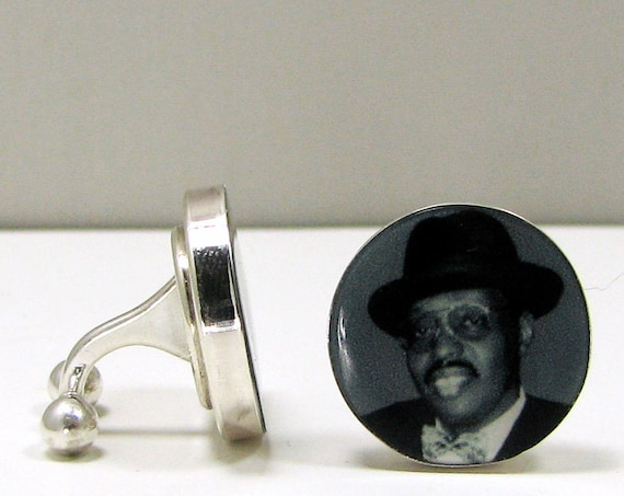 Sterling Silver Photo Cuff Links with a Barbell Back