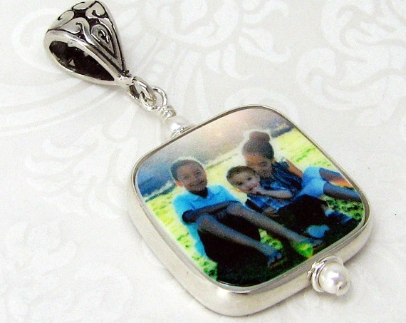 "Half-Round Framed Photo Charm on a Fancy Bail - Small (.75"")"
