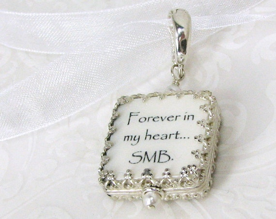 A Gorgeous Photo Memory Charm Wrapped in a Sterling Princess Style Frame - WBC5P