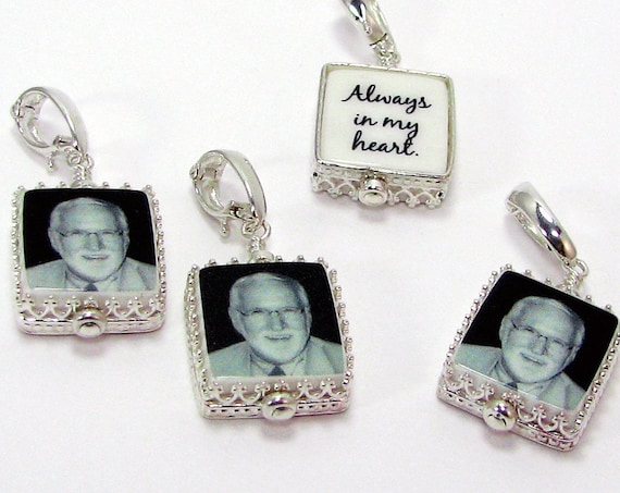 "4 Classic Framed Photo Charms on Hinged Bails - Mini (.5"")"