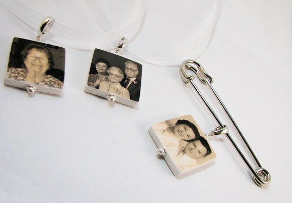 For the Bride and Groom - Photo Memorial Charms & Boutonniere Pin