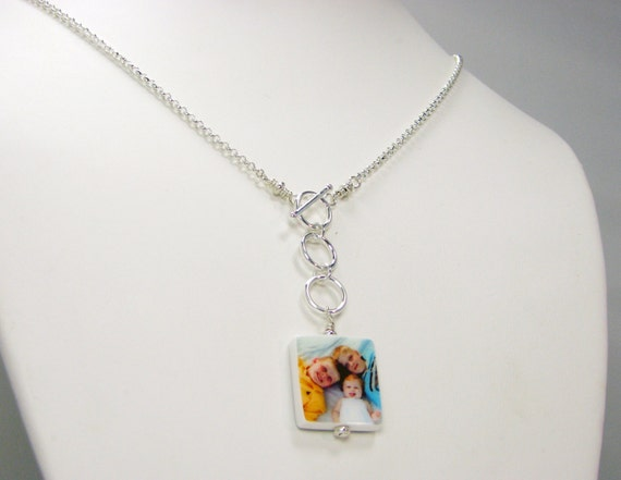 Lariat Style Photo Pendant Necklace with Toggle Clasp - Small - P3fN