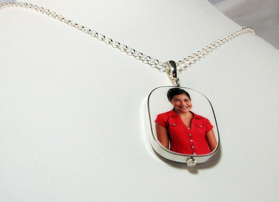 Photo Pendant Necklace Framed in Sterling - Large - FP1FlRN
