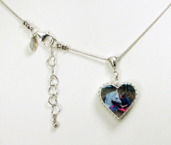 Heart Photo Pendant Framed in Silver