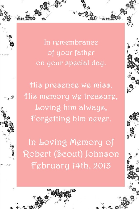 In Loving Memory Cards - Custom Wedding Memorials Poems - DIGITAL FILES - DIY Printable - In Remembrance