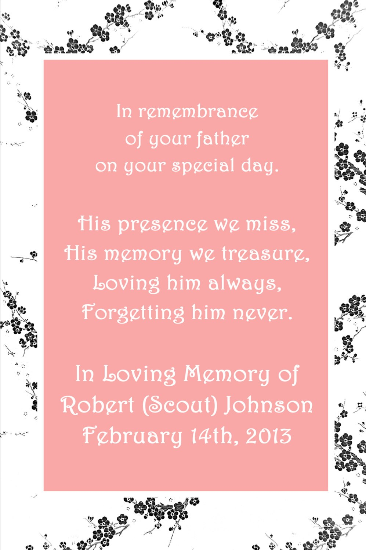In Loving Memory Cards Custom Wedding Memorials Poems   Etsy