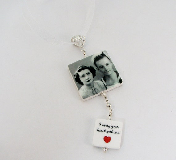 Bridal Bouquet Memorial Photo Charms with a Fancy Bail - Double Dangle - 1 Lg. & 1 Sm. - BC1T3