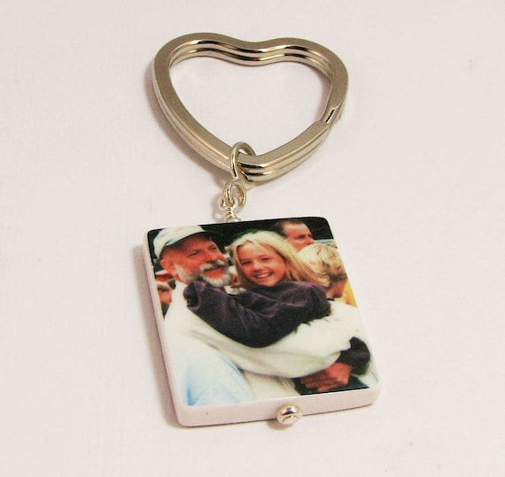 Photo Charm with a Heart Shaped Key Ring - P1a