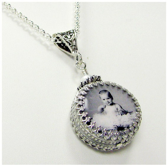 A Custom Photo Tile Pendant Wrapped in a Gorgeous Sterling Silver Classic Frame - XSM