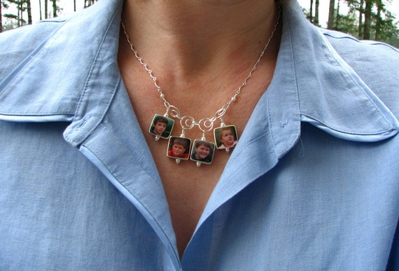 Circles of Sterling Necklace With 4 Dangling Two-sided Photo Charms - C4x4N