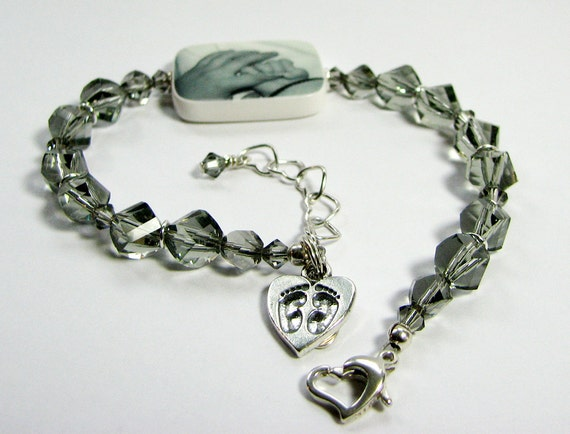 Custom Swarovski Crystal Bracelet, Medium Photo Charm - P2RB13a