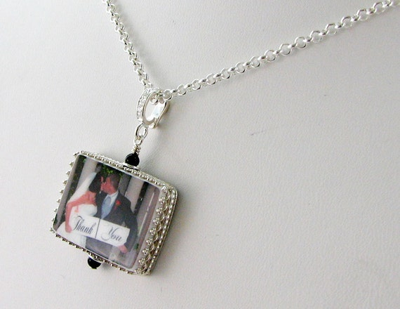 Necklace with a Photo Pendant Framed in Sterling - Medium