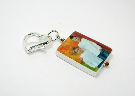 Custom Photo Tile Zipper Pull with Sterling lobster Claw Heart  - P2ZP