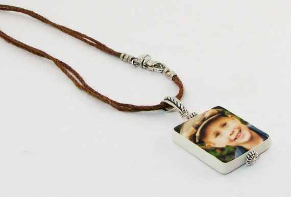 For Dad, Hemp Cord Necklace with Photo Pendant - Handmade Photo Jewelry - P2fN