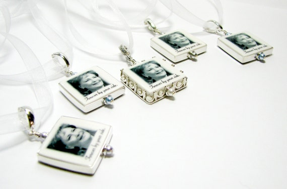 Wedding Bouquet Photo Jewelry - Framed Photo Pendants -  Small - FP3Gx5a