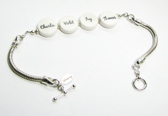 Sterling Snake Chain Bracelet with 4 Mini Photo Charms - C8x4B5