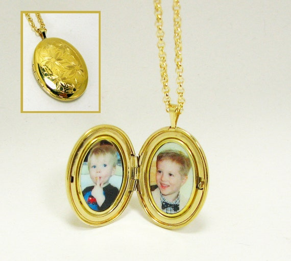 Oval Photo Locket  - Gold-Filled with a Floral engraving.