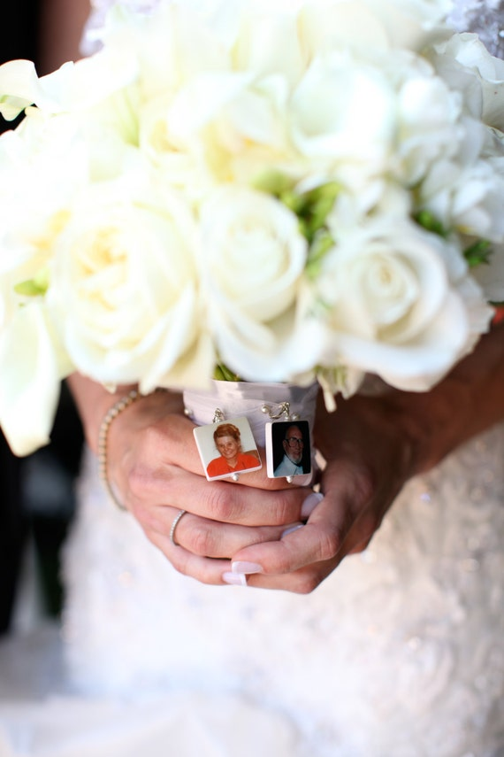 Bridal Bouquet Memorial Photo Charms - 2 Lg. Custom Photo Pendants - BC1x2