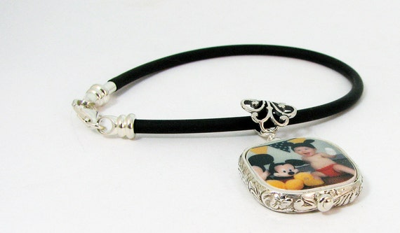 Photo Charm Framed in Sterling on a Black Rubber Bracelet - Small - FP3RFfB