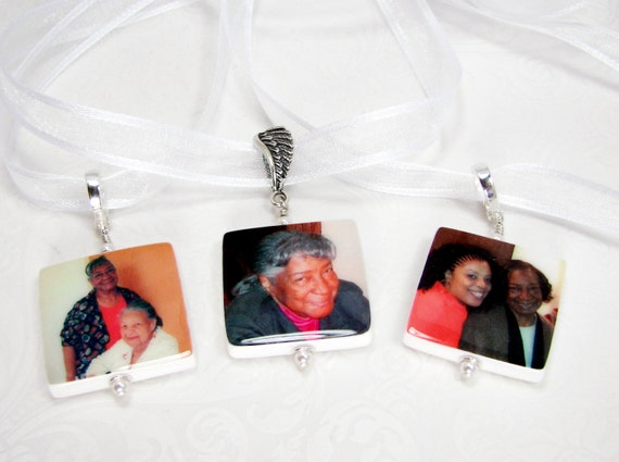 Wedding Bouquet Photo Memorial Charms. 3 Medium Photo Charms with Fancy Bails - BC2x3