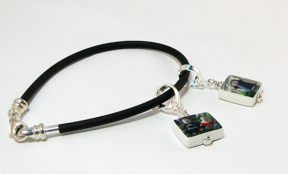 Black Rubber Cord Bracelet with 2 Mini Photo Charms on Fancy Bails - C4fx2B10