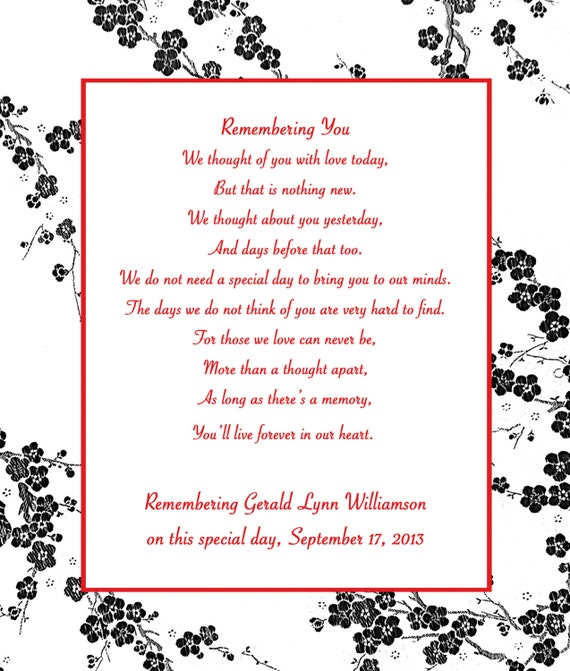 In Loving Memory Cards - Custom Wedding Memorial Poem - DIGITAL FILES - DIY Printable - Remembering You