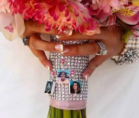 Wedding Bouquet Memorial Photo Charms - 3 Custom Bouquet Memorials