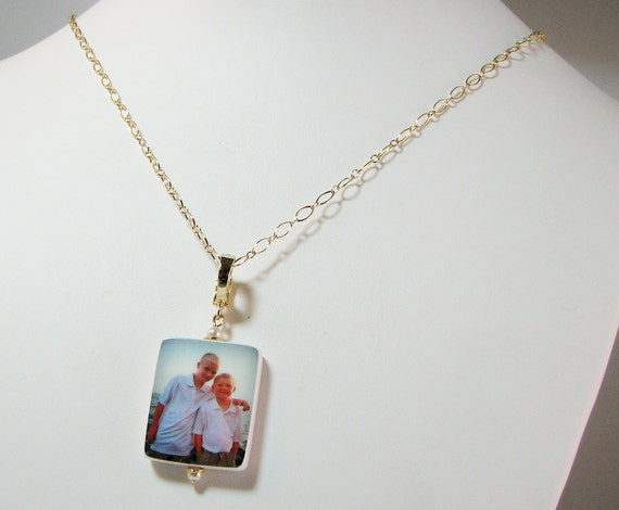 Photo Pendant on Gold Filled Chain - Medium Charm - P2NGf - Memory Necklace, Custom Photo Jewelry, Custom Keepsake Jewelry, Sympathy Jewelry