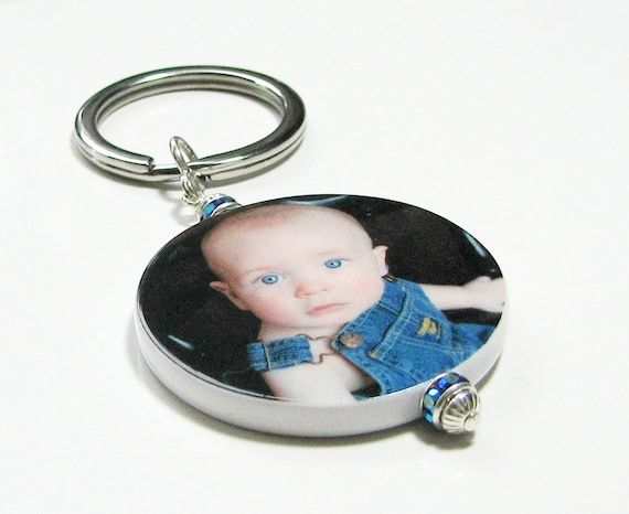 Personalized Photo Charm Key Ring  - XL - P20a