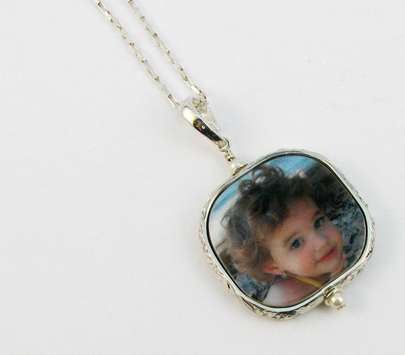 Silver Framed Photo Tile Necklace, Stretch Box Chain - Medium - FP2FRN