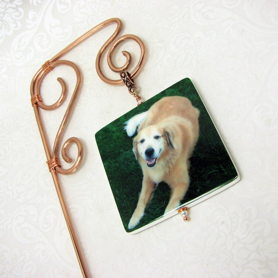 Copper Wire Garden Stake with a Photo Memorial Tile - O1GS