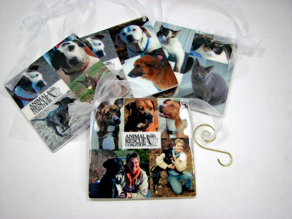Set of 4 Photo Ornaments for your Christmas Tree or Office - OOSx4
