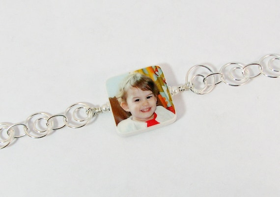 Photo Charm Bracelet with Rings of Sterling Chain - Small Charm - P3B5