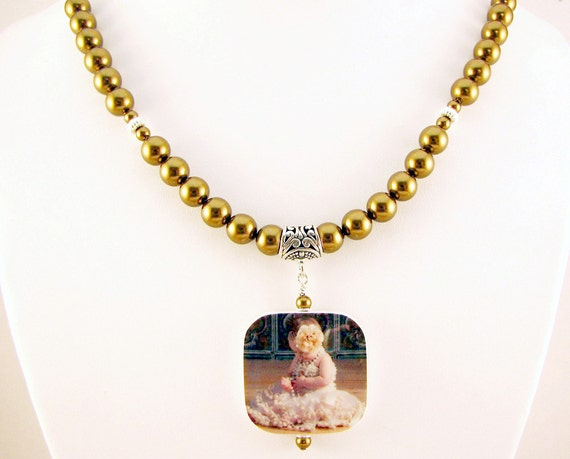 Pearl Necklace with Photo Charm, Bracelet and Earrings - 3 Pc Set
