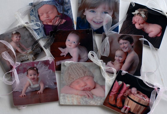 Set of 9 Photo Ornaments for your Christmas Tree or Office - OOSx9