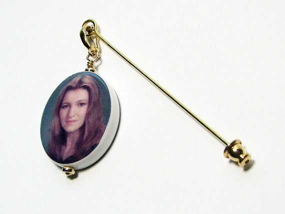 14K Gold Edition - Oval, Lg. Boutonniere or Corsage Memorial Photo Charm - BPP18-G