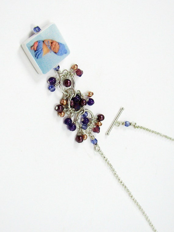 Lariat Style Photo Pendant Necklace with Amethyst Dangles - Small - P3Na