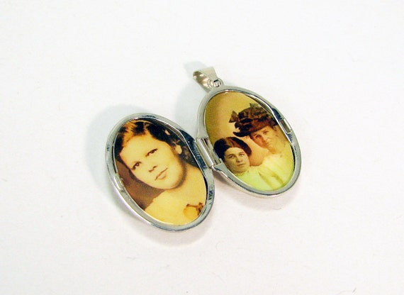 Sterling Silver Scroll Locket, Oval Photo Locket