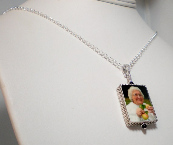Photo Pendant Framed in Sterling - Large