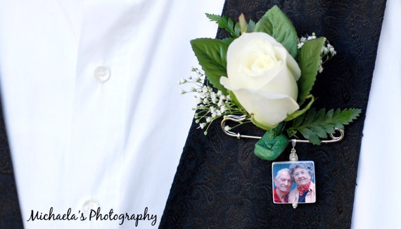 Grooms Boutonniere Memorial Photo Charm -  Medium - BPP2