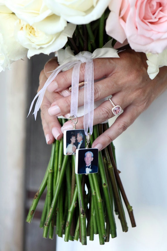 Wedding Bouquet Photo Charms - 2 Custom Bouquet Jewelry Charms