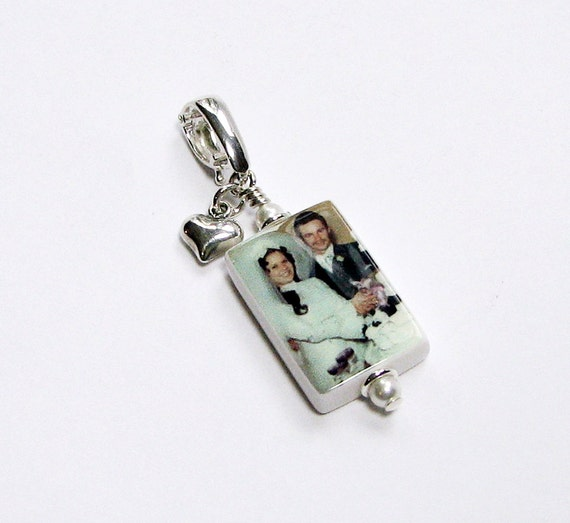 Small Photo Charm with Sterling Puffy Heart - P3a