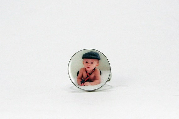 Photo Charm Ring - Custom Sterling Silver Bezel